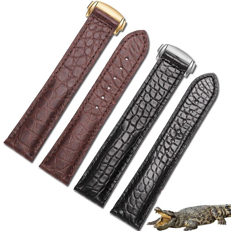 Pulseira de Couro de Crocodilo Preto e Marrom com Fivela Masculino e Feminino Dobrável Adaptação Omega Relógio 18mm 19mm 20mm 22mm