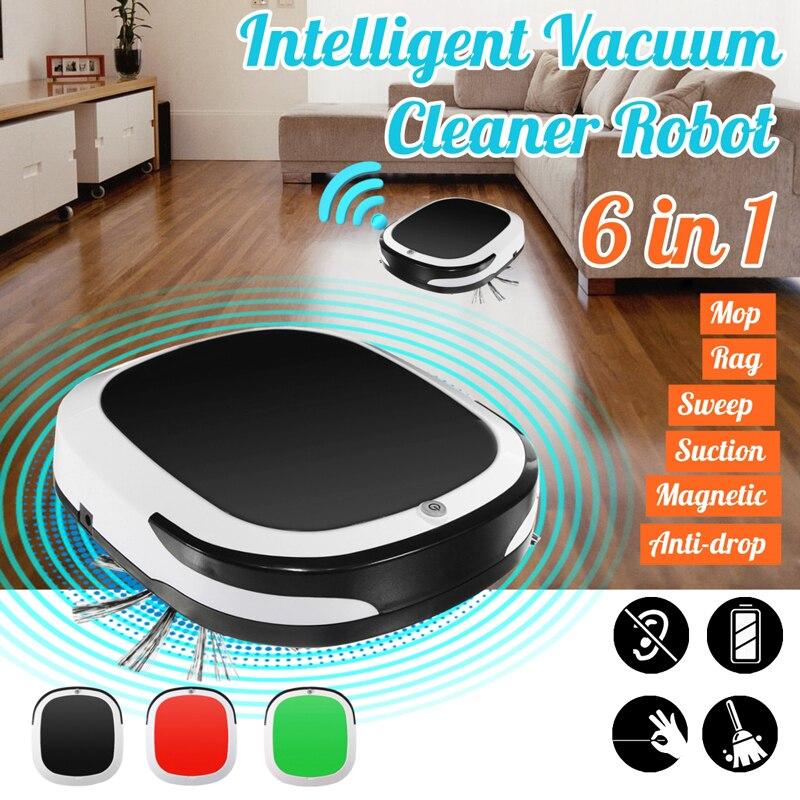 مكنسة كهربائية روبوت ذكية 6 في 1 ، مكنسة كهربائية متعددة الوظائف ، مسح ، مكنسة منزلية قابلة لإعادة الشحن