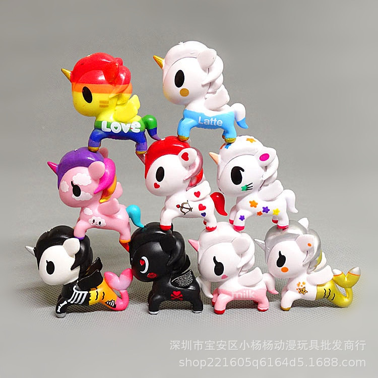 9pcs/lot Figma Gifts for Women Girl Tokidoki Unicornio Action Figure Mini Tokidoki Model Cute Unicorn pvc Model toys tokidoki вибропуля pink unicorn