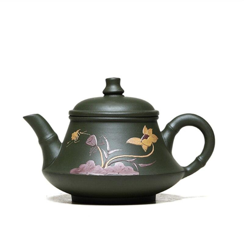 إبريق شاي مصنوع يدويًا من الطين الأخضر yixing zisha republic ، إغاثة ، أحرف صينية ، خام أصلي ، يباع في المبيعات