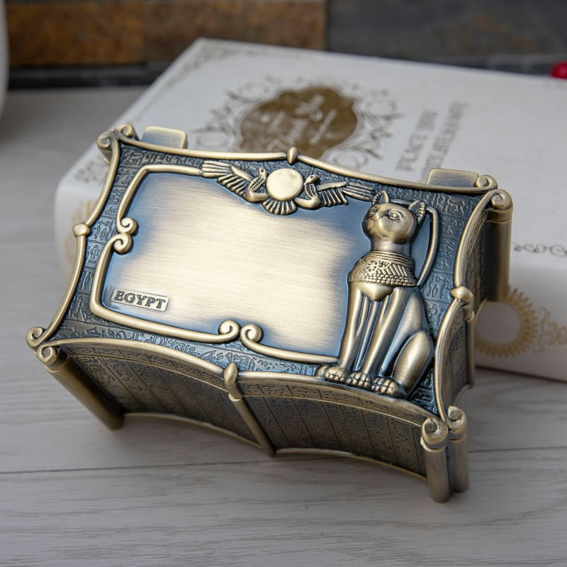 Caja de Metal Anubis para gato de Egipto Vintage, caja de almacenamiento de regalo egipcio, caja de almacenamiento para decoración de arte en casa, cofre organizador