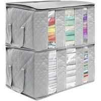 65L Winter Clothes Storage Box Underbed Stackable Boxes Thick Coats Organizer Transparent Bag Wardrobe Organizer Storage Bags