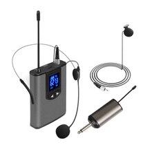 UHF Tragbare Wireless Headset/ Lavalier Revers Mikrofon mit Bodypack Sender und Empfänger 1/4 Zoll Ausgang, Live-Performer