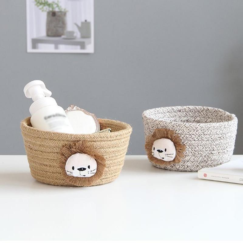 Cartoon Animals Hand Woven Storage Basket Kids Toys Desktop Organizer Sundries Storage Box Laundry B