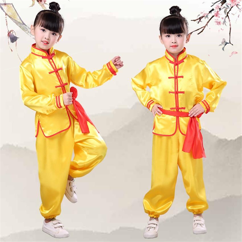 Niños kungfú chino ropa tradicional Wushu uniforme de Tai Chi para niños niñas China cultura Tang traje trajes de rendimiento