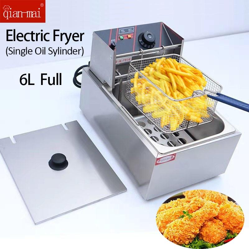 Stainless Steel Oil Fryer 6L Electric Deep Fryer with Basket For Commerical & Home Use EU/AU Plug 220V-240V