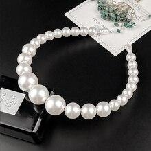 Diadema de perlas grandes de lujo para mujer, diadema elegante con personalidad salvaje, para niña turbante con bisel, tocado para el cabello 2019