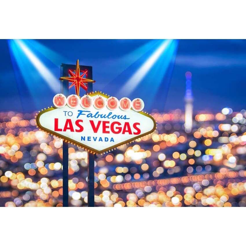 7x5FT Bienvenido a fabuloso cartel de neón de Las Vegas Color Bokeh proyector personalizado foto estudio telón de fondo vinilo 220cm x 150cm