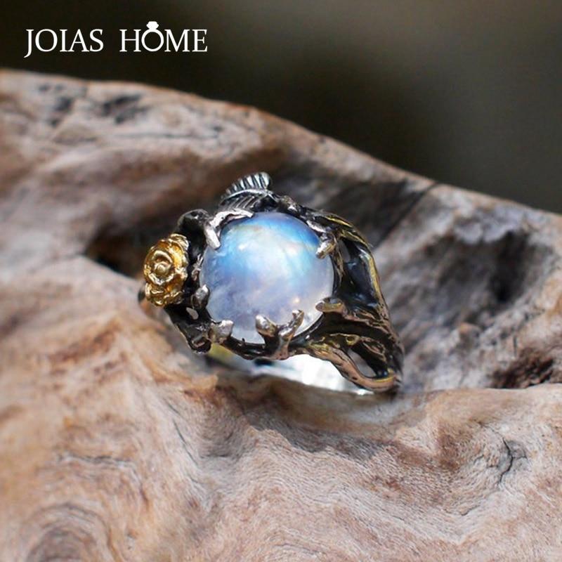 JoiasHome 925 bague en argent sterling pour femmes vintage or rose séparation feuille darbre pierre de lune naturelle Thai argent bijoux cadeau