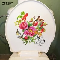 ZTTZDY     autocollants muraux fleurs et oiseaux pivoines  23CM    23 7CM  Style chinois  decoration de salle de bain  toilettes  T2-0910