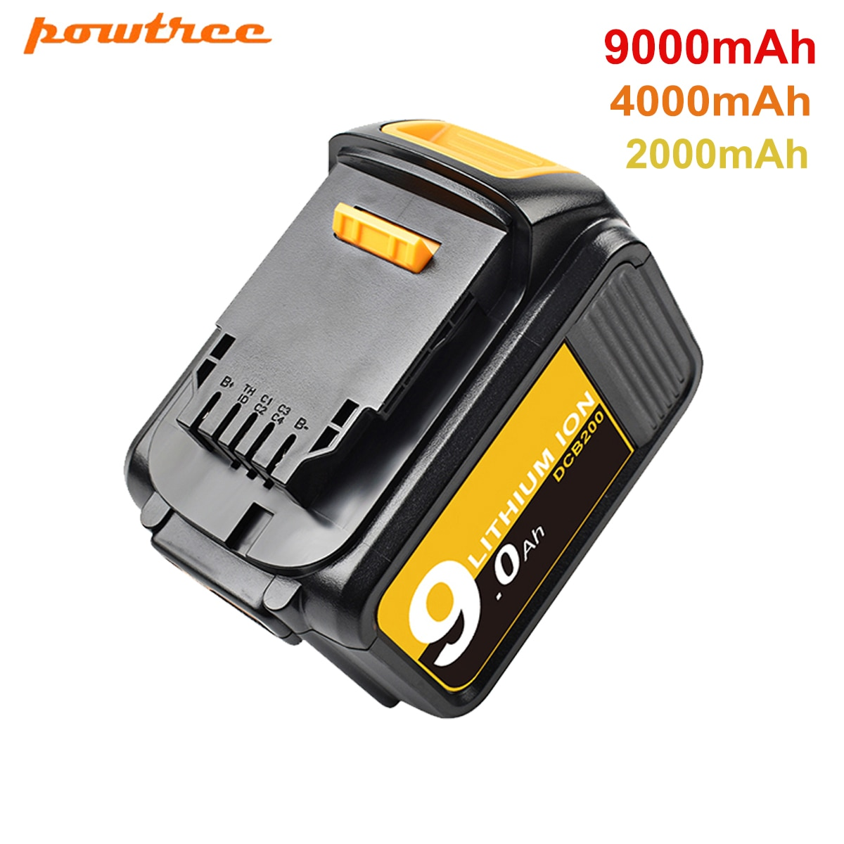 Powtree 18/20V 4.0/9.0Ah DCB200 Replacement Li-ion Battery For DeWalt MAX XR power tool 20V 9000mAh lithium Batteries DCB200 184