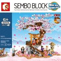 sembo 601076 city stree view cherry blossom landscape house tree building block educational bricks toys for children