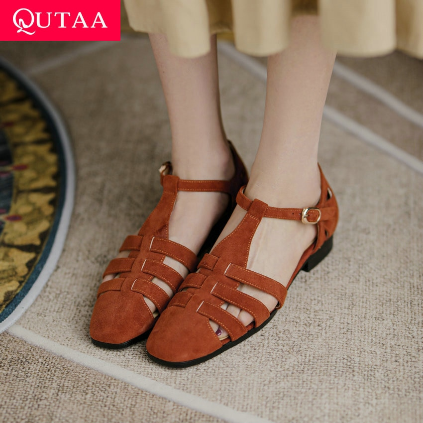 حذاء نسائي صيفي QUTAA موضة 2021 بإبزيم وطرف مربع مناسب لجميع المباريات صندل نسائي بقصّة من جلد البقر المدبوغ للأطفال بكعب مربع مقاس 34-39