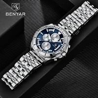 benyar 2021 new classic antique style mens quartz watch stainless steel waterproof calendar luminous pointer watch reloj hombre
