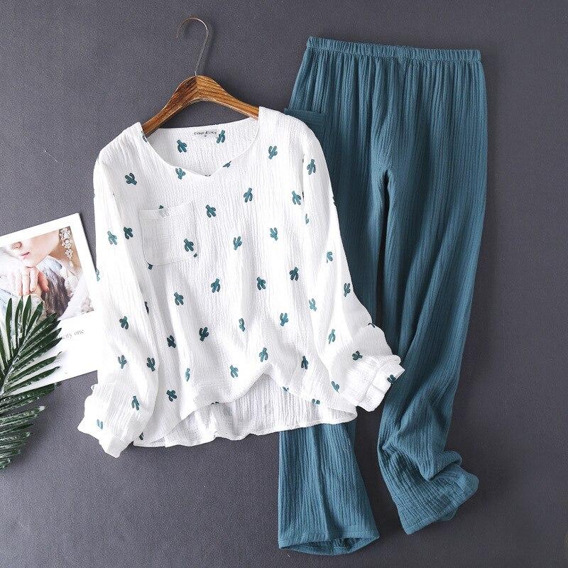 Pantalon en crêpe de coton de style japonais, nouveau pantalon à manches longues, pyjama cactus confortable, service à domicile, nouveau printemps et automne