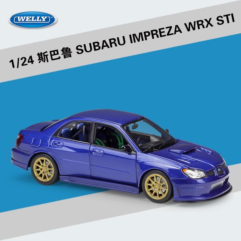 WELLY 1/24, coche SUBARU IMPREZA WRX STI, coche de simulación de Metal fundido a presión, modelo de coche, juguetes para niños, regalos