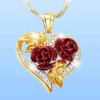 new fashion vintage rose necklace pendant long chain charm simple heart necklace womens jewelry valentines day