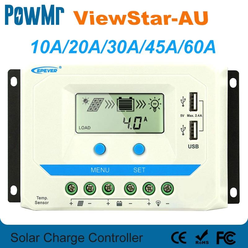 EPever 60A 45A 30A 20A 10A شاحن بالطاقة الشمسية تحكم 12 V 24 V السيارات الخلفية LCD لوحة طاقة شمسية منظم المزدوج USB ViewStar -الاتحاد الافريقي سلسلة