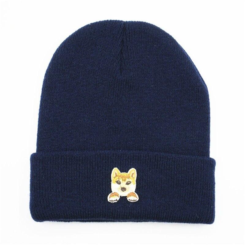 Pastoral dog embroidery Thicken knitted hat winter warm hat Skullies cap beanie hat for kid men women 155