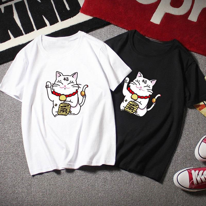 Harajuku Tshirts 2020 Summer Women Kawaii Lucky Cat Print Shirts Tees Casual Short Sleeve T-shirt Loose O-neck Tunic Tops 2XL