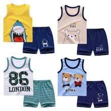 Vêtements dété en coton pour bébés garçons et filles, ensemble T-shirt et Short courts sans manches, tenues pour enfants, 2021