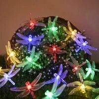 5 m 20 led solar dragonfly light string waterproof courtyard garden decorative light christmas colored light fairy garden patio
