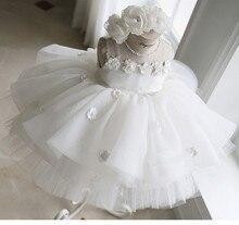 Beyaz dantel çiçek bebek kız elbise vaftiz balo aplikler Pageant elbise kız için doğum günü düğün parti vaftiz elbisesi