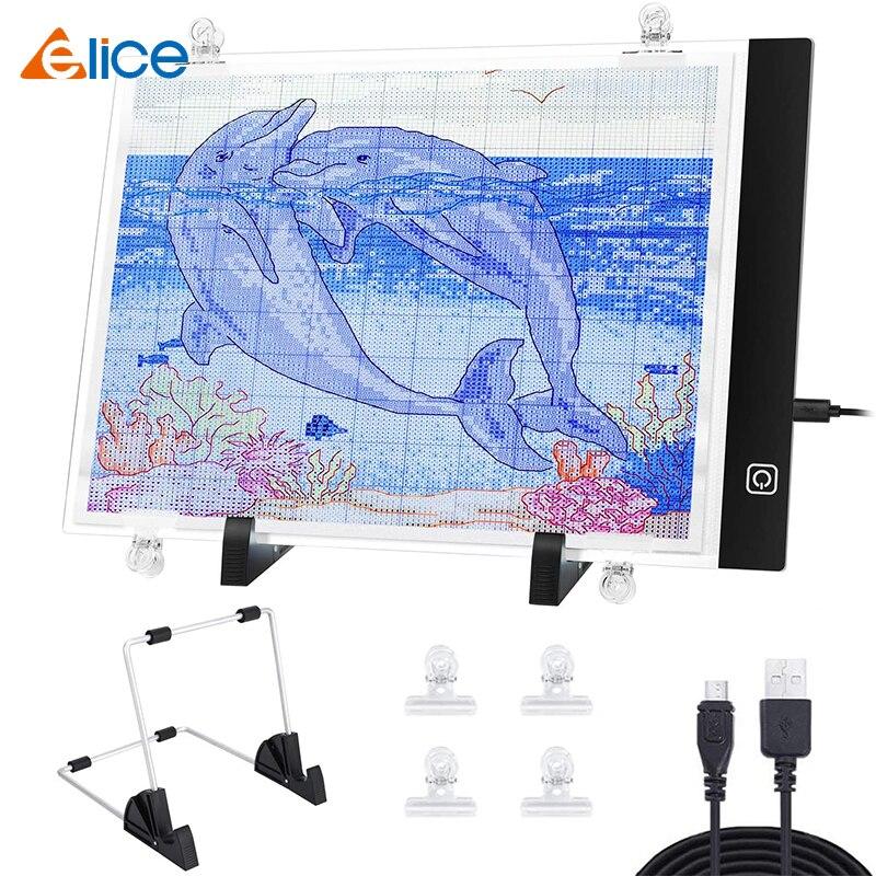 Elice a4 led luz almofada artcraft rastreamento caixa de luz placa cópia digital comprimidos pintura diamante desenho tablet esboçar