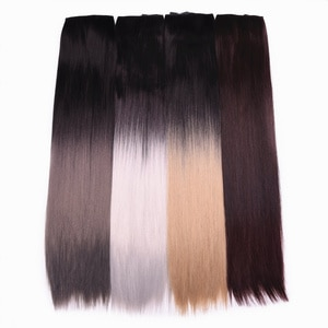 """24"""" 5 Clips Straight Ombre Synthetic False Hairpiece Clip in One Piece Hair Extensions For Girls"""