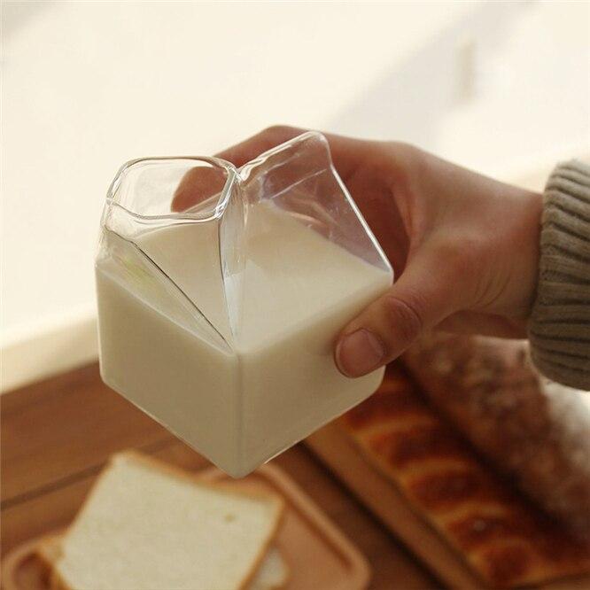1 unidad 250ML medio pinta leche cartón estilo creativo Mini jarra de vidrio Taza de leche