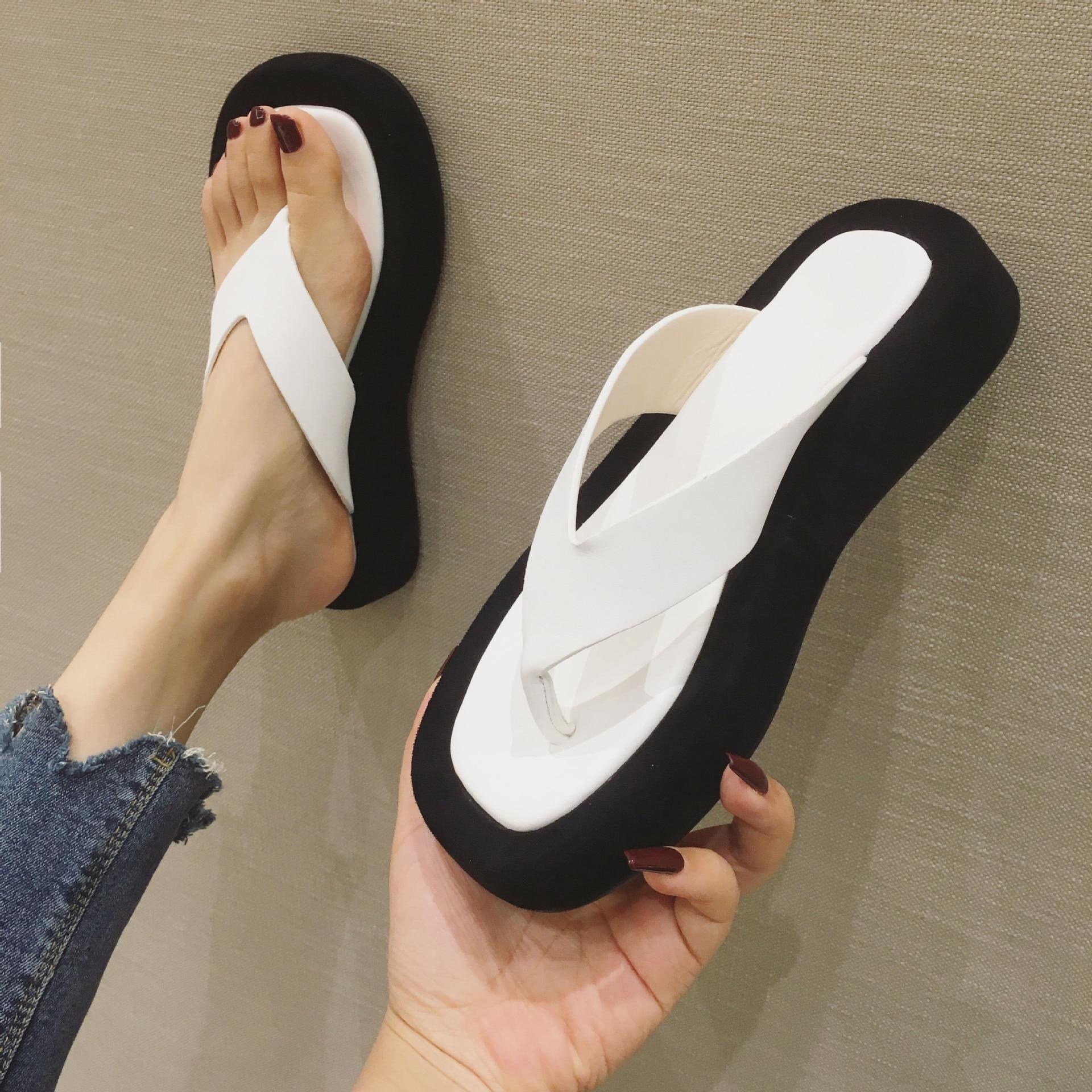 Meotina-صندل فليب فلوب بمقدمة مربعة للنساء ، حذاء صيفي بنعل ويدج ، تصميم Sandasl ، أبيض ، 2021