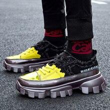 Hip Hop Streetwear grosses baskets hommes en cuir chaussures décontractées hommes fond épais mode EVA Tenis Masculino Adulto baskets
