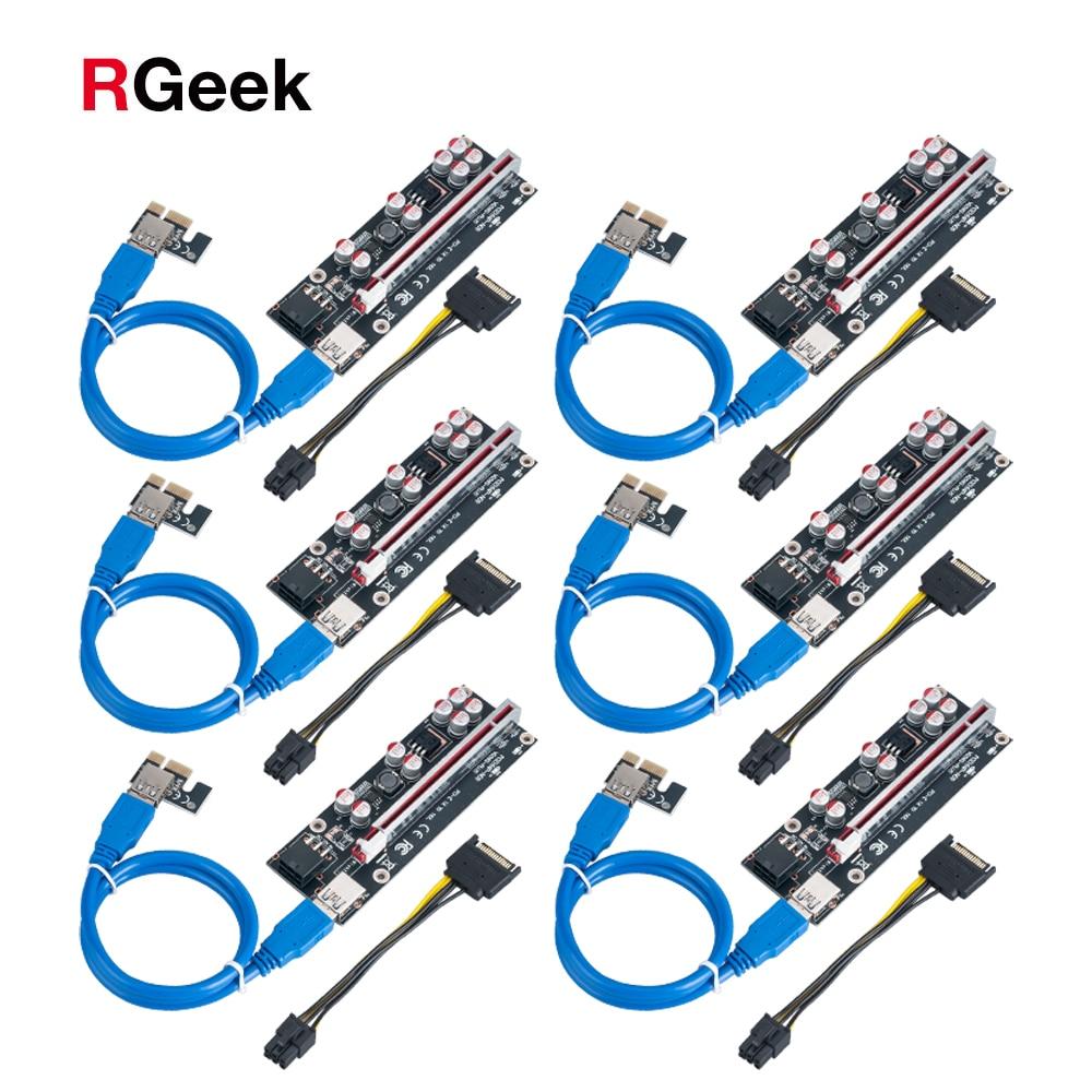 RGEEK 6 قطعة أحدث 009S زائد USB 3.0 PCI-E الناهض VER009 اكسبرس 1X 4x 8x 16x موسع pcie الناهض محول بطاقة SATA 15pin إلى 6 دبوس