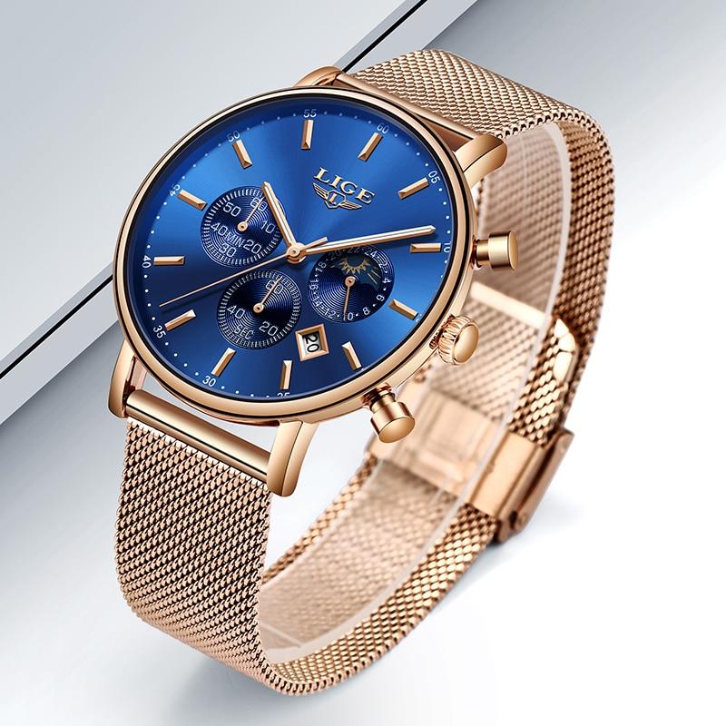 LIGE Top Brand Fashion Luxury Rose Gold Blue WristWatch Casual Fashion Women Watches Quartz Clock Gift Watch Woman Montre Femme enlarge