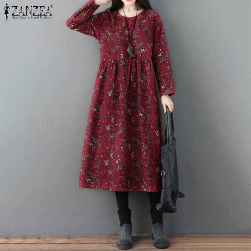 ZANZEA Women Vintage Floral Printed Cotton Linen Sundress Spring O Neck Long Sleeve Loose Midi Dress Casual Retro Vestido Femme