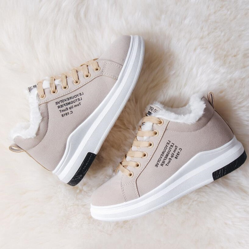 Women's Shoes Winter Women Boots Warm Fur Plush Lady Casual Shoes Lace Up Fashion Zapatillas Mujer Platform Snow Boots
