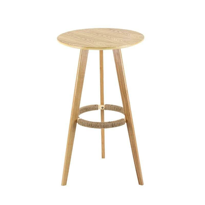 طاولة عالية من الخشب الصلب ، طاولة مستديرة صغيرة بسيطة ، طاولة قهوة ، طاولة بار منزلية ، طاولة بار وكرسي