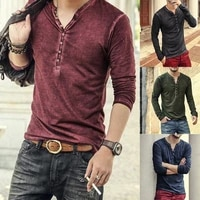 2021 men tee shirt v neck long sleeve teetops stylish slim buttons t shirt autumn casual solid male clothing plus size 3xl