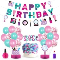 make up theme birthday party decoration set pull flag cake card balloon single ornaments part supplies