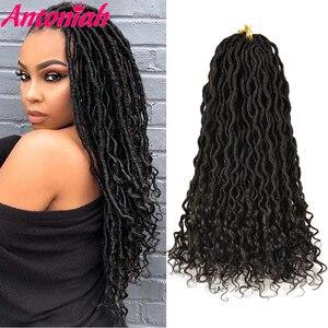 Antoniah Fashionhairstyle Soft Crochet Hair Braids 18 Inch Faux Locs Curly Synthetic Hair Crochet Braiding Hair For Blackwomen