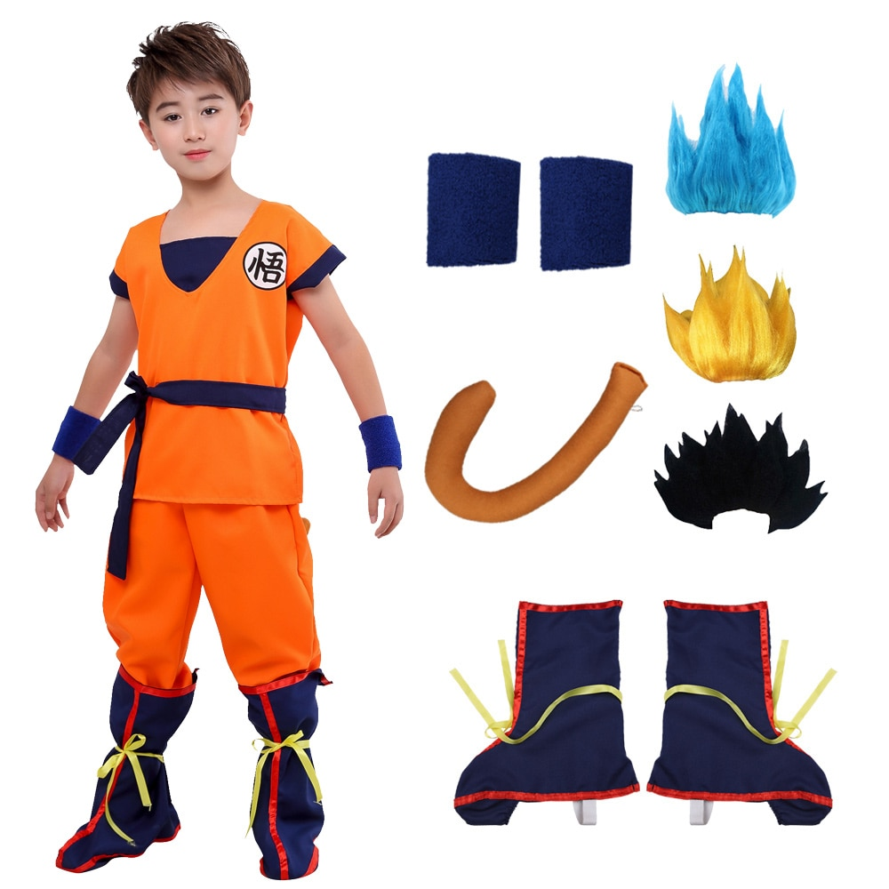 Halloween Adult Kids Son Goku Wu Tail Wigs Blue Black Cosplay Costume Suit Holiday Birthday Party Dress Party Costumes