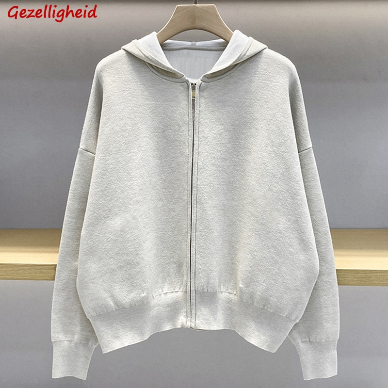 Gezelligheid 2021 Autumn Runway Fashion Elegant Casual Simple Letter Embroidery Hoodies Sweater Zipper Knitted Cardigan Jacket