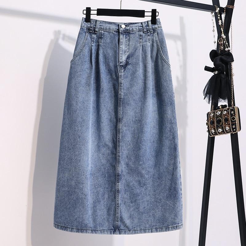 2020 Summer New Korean-Style Denim Skirt Women Elastic High Waist Solid Blue Loose Thin Casual Jeans A Line Midi Skirt Plus Size 2020 new korean style elegant split embroidered a line denim midi skirt korean harajuku skirt jean skirt denim skirt