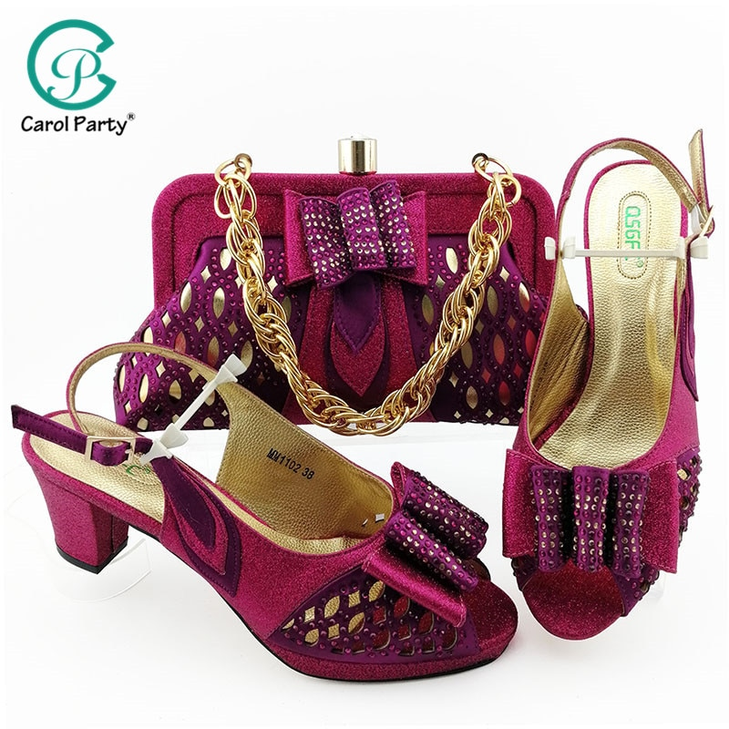 Magenta Color Italian Design Shoes with Matching Bags African Women Shoes and Bag Set Nigerian Women