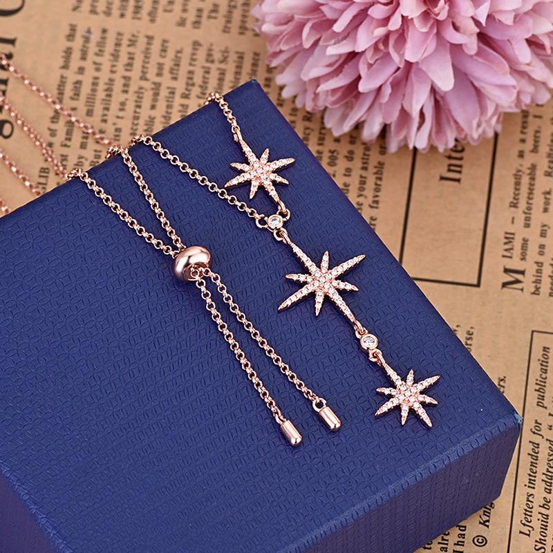 Joyería europea y americana moda zircon collar de meteoritos ajustable elegante temperamento Jersey estrella cadena