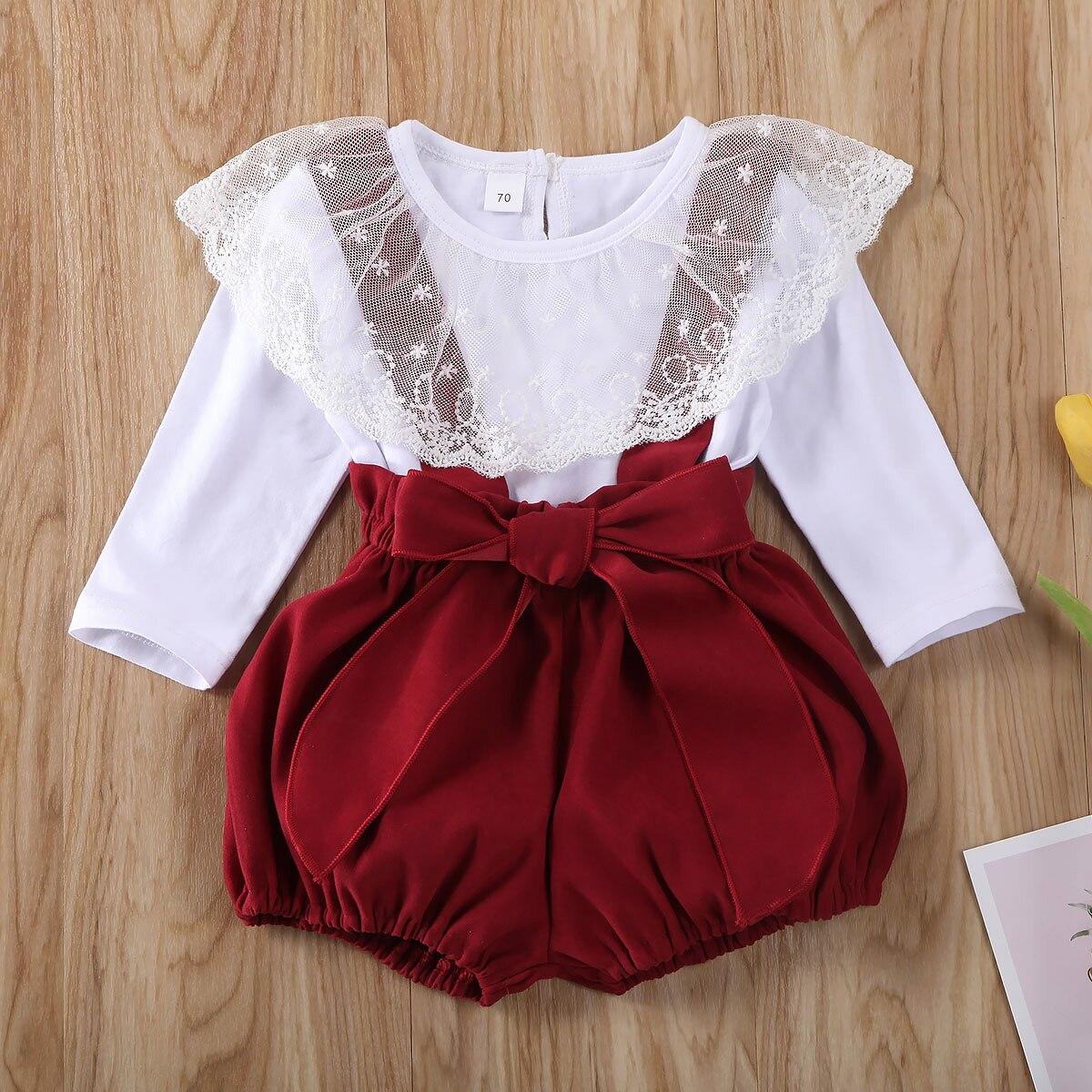 Одежда для новорожденных девочек Pudcoco, однотонные кружевные топы с рюшами и длинным рукавом, шорты на бретельках, комбинезоны, комплекты из 2 предметов, хлопковая одежда