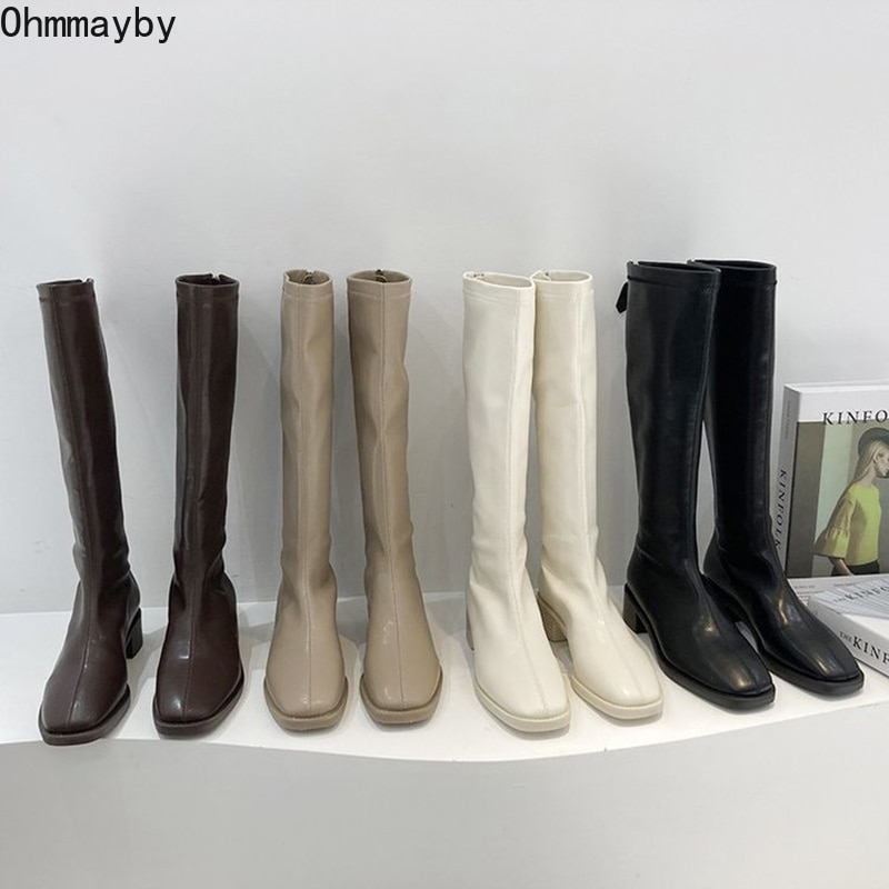 2021 Women Knee-High Leather Boots With Wide Calf Zipper Fashion Square Toe Blakc Female Sexy Long B