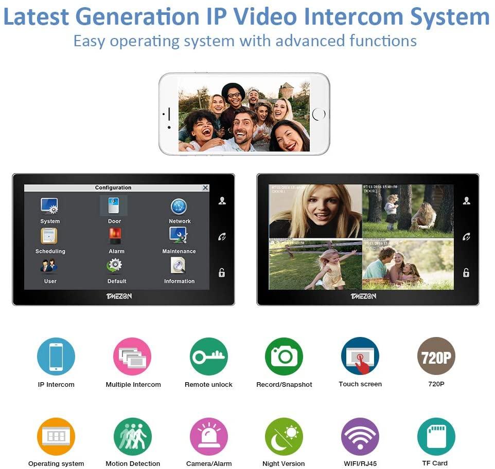 30% OFF TMEZON Wireless Video Door Phone Doorbell Intercom System, 10 Inch WiFi Monitor with 1x720P Wired Outdoor Camera enlarge