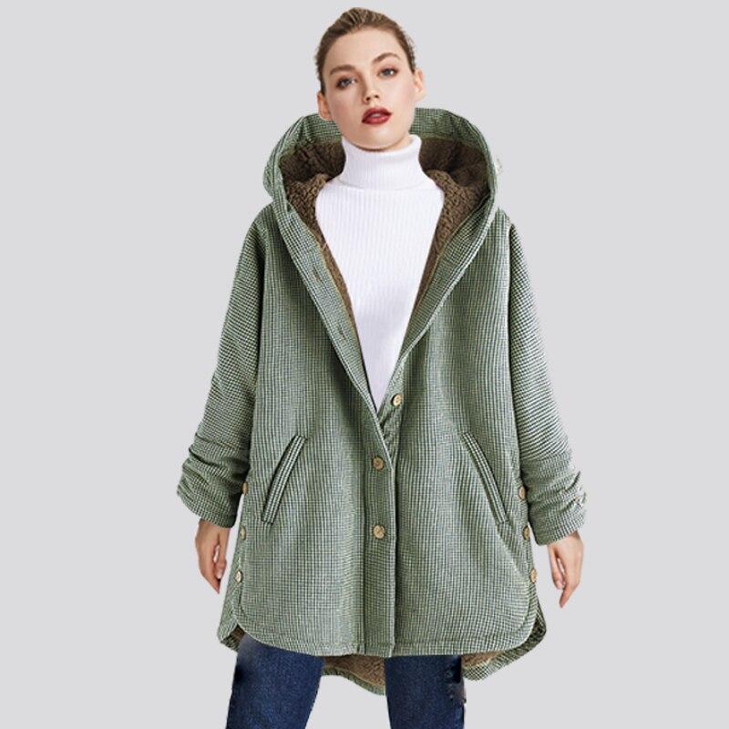 2020 Women's Winter Coat Lattice Warm Fleece Maternity Hooded Pregnant Woman Long Loose Wool Coat with Pocket Women Outwear 3XL enlarge