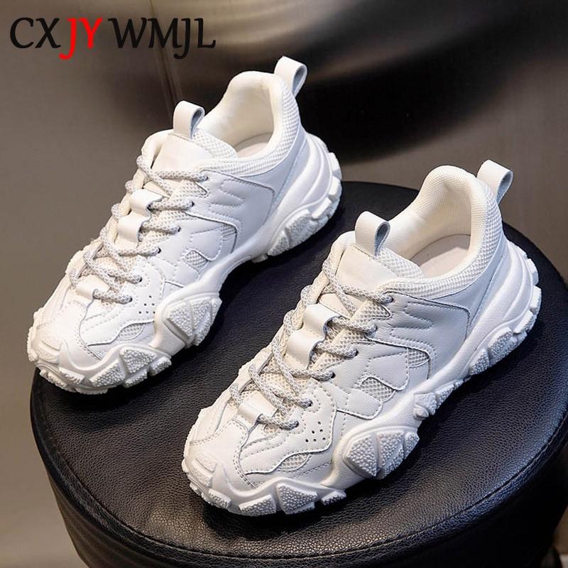 CXJYWMJL-أحذية رياضية ربيعية للنساء ، أحذية رياضية من الجلد الطبيعي ، نعل سميك ، مبركن ، مسامي ، غير رسمي ، للجري